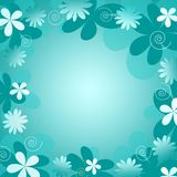 Blue  floral background. Retro styled yellow blue  floral background Royalty Free Stock Photography