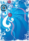 Blue floral background. An abstract illustrated background with floral design in blue,white and pink colors stock illustration