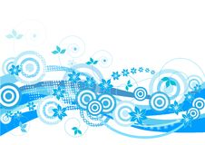 Blue floral background. Blue, floral design with circles and halftones Stock Photography