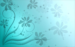 Blue Floral Background. Blue abstract background with floral silhouette Stock Photography