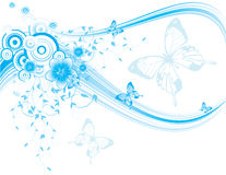 Blue floral background with butterflies and flower. S, , illustration Stock Image