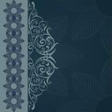 Blue floral background. Decorative blue background with elegant floral patterns Stock Image