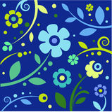 Blue floral background. Floral background with hand-drawn flowers Royalty Free Stock Image