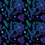 Blue floral background with indian ornament. Blue and black vector background with indian ornament Stock Illustration