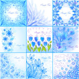 Blue floral backgrounds. Set of blue floral backgrounds Stock Photo
