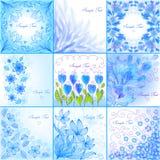 Blue floral backgrounds. Set of blue floral backgrounds Royalty Free Illustration