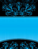 Blue floral banner Stock Photo