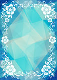 Blue floral border. Abstract floral border on a blue dark polygonal background Royalty Free Stock Photos