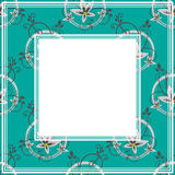 Blue floral border. Abstract border floral pattern on a blue background Royalty Free Stock Photo