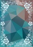 Blue floral border. Abstract floral border on a blue polygonal background Stock Photos