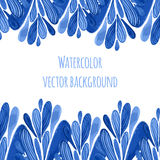 Blue floral border in russian or holland style. Vector template with watercolor decoration. Can be used for greeting card, banner, Royalty Free Stock Photography
