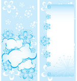 Blue floral brochure template. Pink floral brochure template, 4x9, vector, illustration Stock Photo