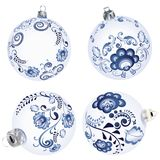 Blue Floral Christmas Ball. Festive christmas ball decorated with blue floral ornaments Stock Image