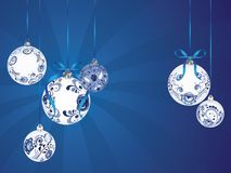 Blue Floral Christmas Ball. Festive christmas ball decorated with blue floral ornaments Stock Photography