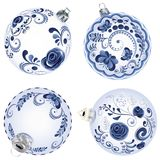 Blue Floral Christmas Ball. Festive christmas ball decorated with blue floral ornaments Stock Photos