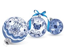 Blue Floral Christmas Ball. Festive christmas ball decorated with blue floral ornaments Stock Photo