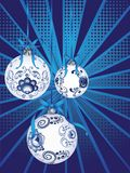 Blue Floral Christmas Ball. Festive christmas ball decorated with blue floral ornaments Royalty Free Stock Image