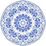 Blue floral circle pattern in gzhel style Royalty Free Stock Photo