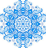 Blue floral circle pattern in gzhel style Stock Images