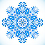 Blue floral circle pattern in gzhel style Royalty Free Stock Images