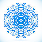 Blue floral circle pattern in gzhel style Royalty Free Stock Image