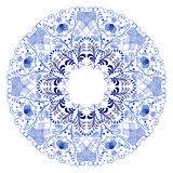 Blue floral circular pattern. Blue floral circular pattern in Gzhel style. Vector illustration Stock Image