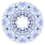 Blue floral circular pattern. Stock Image