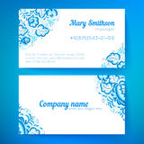 Blue floral decoration business cards templates. Ornate blue floral decoration  business cards templates Royalty Free Stock Photo