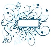 Blue floral design. Light blue two-tone floral design with blank text box Royalty Free Stock Photo