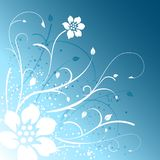 Blue floral design background. Floral and leaf design on blue gradient background Royalty Free Stock Photo