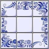 Blue floral drawing on ceramic tile on national motifs royalty free illustration