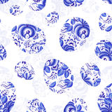 Blue floral Easter eggs seamless pattern Royalty Free Stock Images