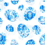 Blue floral Easter eggs seamless pattern Royalty Free Stock Photo