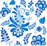Blue floral elements in Russian gzhel style Stock Photography