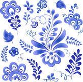Blue floral elements in Russian gzhel style Stock Images