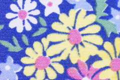 Blue floral fabric texture Royalty Free Stock Images