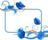 Blue floral frame Royalty Free Stock Photos