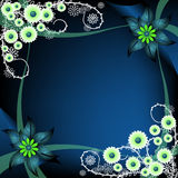 Blue floral frame Stock Photo