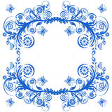 Blue floral frame with butterflies. Royalty Free Stock Images