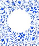 Blue floral frame Stock Photos