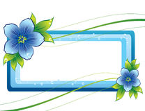 Blue floral frame with dew-drop. Blue background with flowers and dew-drop Stock Photography
