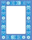 Blue floral frame in folk style Royalty Free Stock Photos