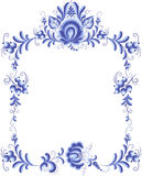 Blue floral frame in gzhel style Royalty Free Stock Photography
