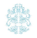 Blue floral frame vector flowers. Hand drawn illustration in folk style. Beautiful flowers in vintage style. Floral art ornament Stock Photo