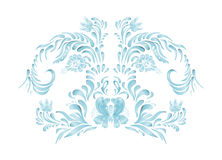 Blue floral frame vector flowers. Hand drawn illustration in folk style. Beautiful flowers in vintage style. Floral art ornament Royalty Free Stock Photography