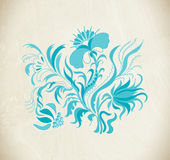 Blue floral frame vector flowers. Hand drawn illustration in folk style. Beautiful flowers in vintage style. Floral art ornament Stock Photography