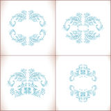 Blue floral frame vector flowers. Hand drawn illustration in folk style. Beautiful flowers in vintage style. Floral art ornament Royalty Free Stock Image