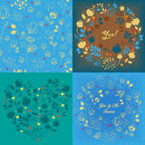 Blue floral heart, round and seamless patterns set Royalty Free Stock Photography