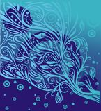 Blue floral illustration Royalty Free Stock Photography