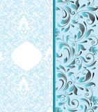 Blue floral invitation card Stock Images
